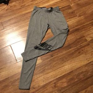 Grey and black nike leggings